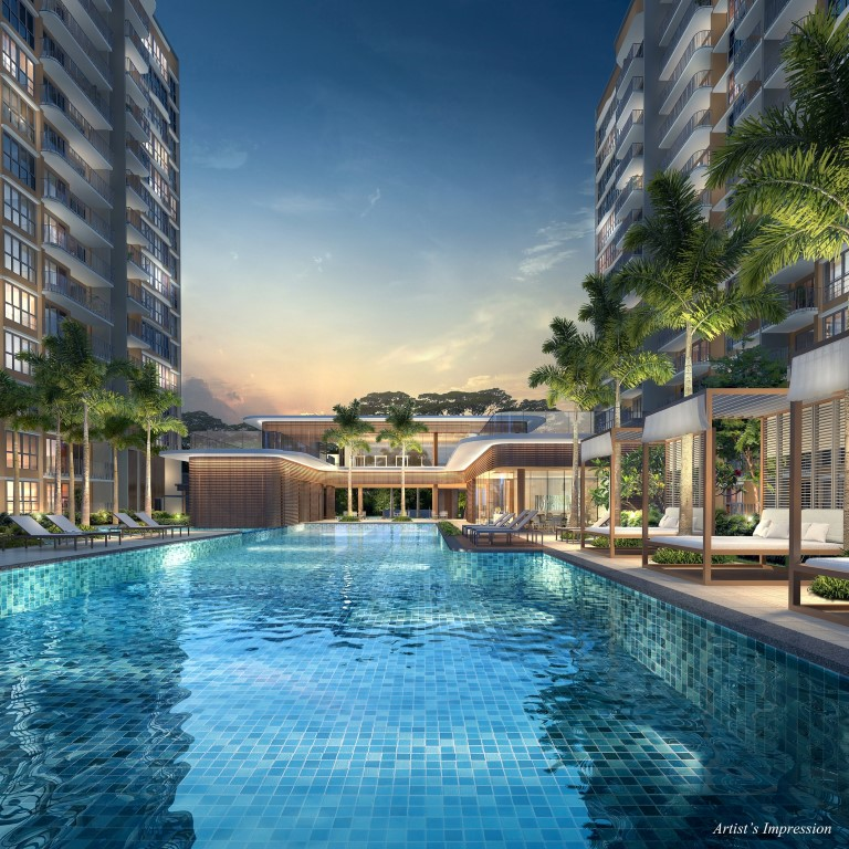 Hundred Palms Residences Palms Clubhouse and swimming pool night view